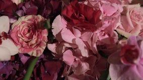 Beautiful flower wedding decoration. Close up. stock video