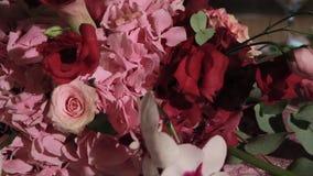 Beautiful flower wedding decoration. Close up. stock video footage