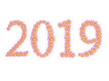 2019 flower on white background Royalty Free Stock Photo