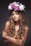 Beautiful Flower Woman. Long Healthy Hair. Royalty Free Stock Images