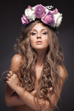 Beautiful Flower Woman. Long Healthy Hair. Stock Photos