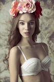 Beautiful, flower woman Royalty Free Stock Photography