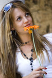 beautiful flower woman young Royaltyfri Fotografi