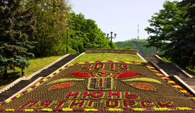 Beautiful flowerbed calendar in Pyatigorsk Stock Images