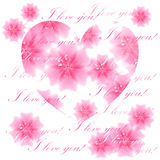 Beautiful flowered heart on white background. Greeting card. Vec Stock Photo
