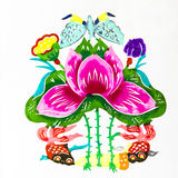 Beautiful flowers. This is a colored paper-cut pictures, pictures reflect the beauty of a beautiful flower scene. Paper-cut is one of the traditional Chinese Stock Photo