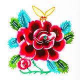Beautiful flowers. This is a colored paper-cut pictures, pictures reflect the beauty of a beautiful flower scene. Paper-cut is one of the traditional Chinese Royalty Free Stock Photos
