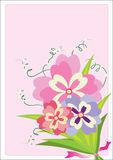 Beautiful Flowers. On the pink background-vector Stock Photography