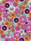 Beautiful flowers. Retro botanical garden in  seamless pattern Stock Images