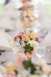 Beautiful flowers as dining table decoration Stock Image