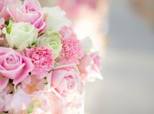 Beautiful flowers background for wedding scene . Blurr copy space background Stock Photos