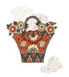 Beautiful flowers in bag with decorative ornament. Vector Stock Images