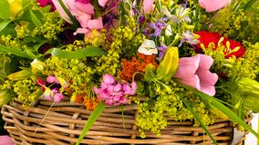 Beautiful flowers in a basket stock photography