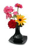 Beautiful flowers in a black vase. On a white background Royalty Free Stock Photography