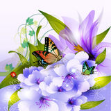 Beautiful Flowers and Butterfly Royalty Free Stock Photography