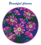 Beautiful flowers in a circle of purple on a blue background Royalty Free Stock Photo