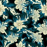 Beautiful flowers on dark background seamless pattern. (vector eps 10 Royalty Free Stock Image