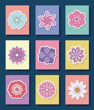 Beautiful flowers design. Icon set of beautiful flowers over colorful squares and blue background, vector illustration Royalty Free Stock Images