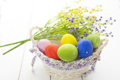 Beautiful flowers and easter eggs basket. Royalty Free Stock Photo