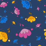 Beautiful flowers fantasy on a blue background. Seamless flowers pattern on a blue background. For printing on packaging, bags, cups, laptop, furniture, etc Royalty Free Stock Images