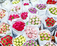 Beautiful flowers at the flower market in Hong Kong Royalty Free Stock Photography