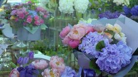 Variety of flowers in flower shop. Beautiful flowers in flower shop. Elegance flowers sell in flower store. Variety of flowers in flower store. Prores codec stock video footage