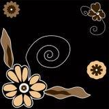 Beautiful flowers illustration. On black background. Vector illustration Stock Photo