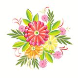 Beautiful Flowers Isolated On White Background Colorful Floral Decoration Element Stock Photo