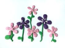 Beautiful flowers plasticine clay, natural dough, violet floral Stock Photos