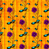 Beautiful flowers on orange background seamless pattern grunge texture Royalty Free Stock Photos