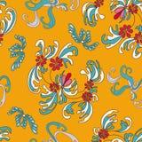 Beautiful flowers on an orange background seamless pattern Stock Photo