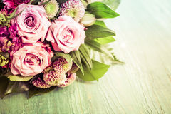 Beautiful flowers over green background Royalty Free Stock Photos