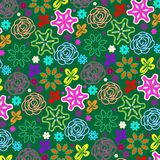 Beautiful flowers in pink, purple and red pattern over green background vector illustration