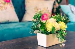 Beautiful flowers pot, flowers vase in vintage retro style inter. Ior decoration living room stock photo