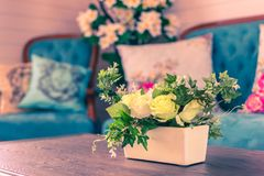 Beautiful flowers pot, flowers vase in vintage retro style inter. Ior decoration living room royalty free stock images