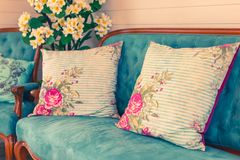 Beautiful flowers pot, flowers vase in vintage retro style inter. Ior decoration living room stock photography