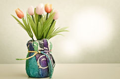 Beautiful flowers in pot, Retro Style Royalty Free Stock Image
