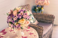 Beautiful flowers pot, flowers vase in vintage retro style inter. Ior decoration living room royalty free stock photo