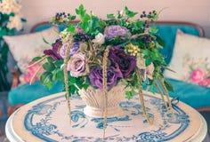 Beautiful flowers pot, flowers vase in vintage retro style inter. Ior decoration living room stock image