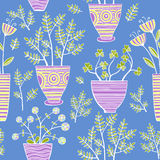 Beautiful Flowers In Pots, Vector seamless pattern. Stock Images