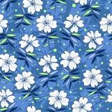 Beautiful flowers seamless pattern blue Stock Photo