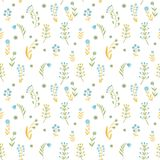 Beautiful Flowers set, Vector seamless pattern. Stock Images