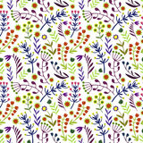 Beautiful Flowers set, Vector seamless pattern. Stock Photography