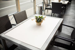 Beautiful flowers on table in the cafe. Fine Free cafe Table Setting With Bouquet Stock Photography