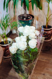 Beautiful flowers at table in wedding day. Floral Royalty Free Stock Photo