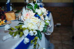 Beautiful flowers at table in wedding day. Floral Stock Photos