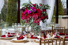 Beautiful flowers on table in wedding day. Luxury holiday background. Stock Photography
