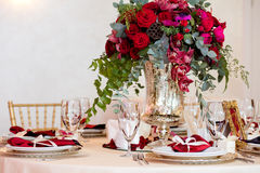 Beautiful flowers on table in wedding day. Luxury holiday background. Royalty Free Stock Photography