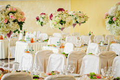 Beautiful flowers on table in wedding day Royalty Free Stock Photography