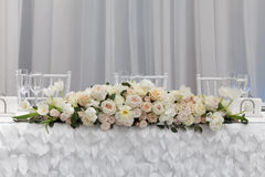 Beautiful flowers on table in wedding day. Royalty Free Stock Images